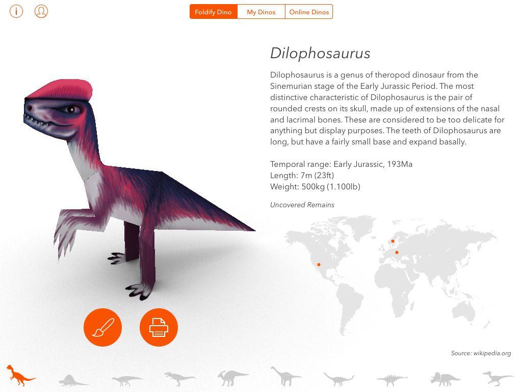 Foldify Dinosaurs Skapa 3d Dinosaurier På Papper